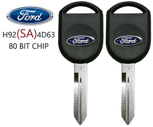 2   NEW FORD H92 SA 80 BIT OEM TRANSPONDER CHIP KEY WITH LOGO BEST QUALITY