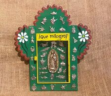 Tin Nicho w/ Pewter Milagros from Mexico Virgin of Guadalupe Handmade