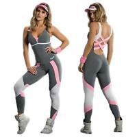Women Sports Clothes Gym Yoga Running Fitness Leggings Pants Jumpsuit Outfit CA