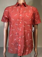Men's Budweiser All Over Print Pink red white Button Up Shirt (Small) S NEW NWT