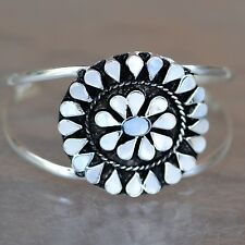 Artisan Mother of Pearl Sunburst Silver Cuff Bracelet from Taxco Mexico