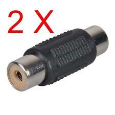 2PCS NEW Female to Female Jack AV Audio RCA Coupler Joiner Component Adapter