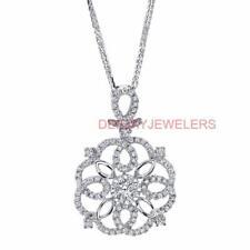 Diamond Pendant Natural 0.80ct White 18k Gold VS1 Tudor Rose