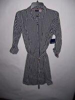 Basic Editions Women's Black & White Check Button Down Shirt Dress Size M NWT