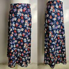 Vintage Catherina Hepfer Skirt Long A line High Waist Blue Floral Spring UK 12