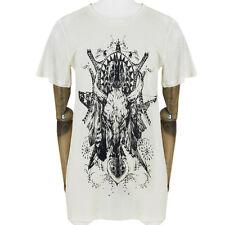 Balmain Ivory Cream Black Fine Cotton Skull Print T-Shirt Top FR38 UK10