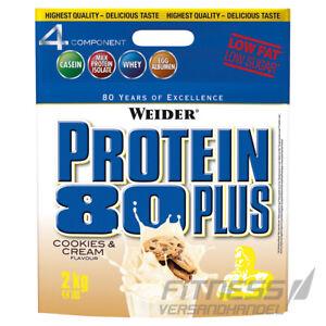 (24,97€/kg) Weider Protein 80+ Plus, 2kg Beutel Eiweiß versch. Sorten + Bonus