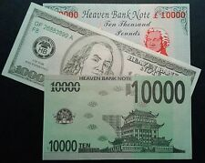 """Hell"" Notes Heaven Bank Notes  - Crisp, Brand New - Joss paper"