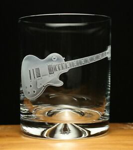 Gibson Les Paul Electric Guitar musical instrument engraved glass tumbler gift