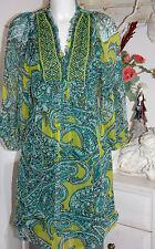 Antik Batik Tunika  Tunic Seide Silk Papago Dress Langarm Green Size:M/40 Neu