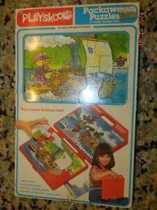 Childrens 2 Vintage 1980 Playskool Packaway puzzles in handy storage case NOS