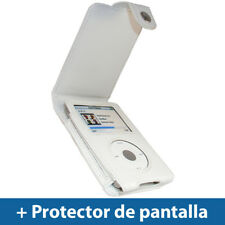 Blanco Funda Cuero Eco-Piel para Apple iPod Classic 80/120/160GB Carcasa Case