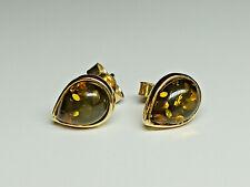 14K Yellow Gold Pear Shaped Stud Earrings