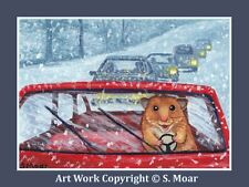 Hamster Driving Car Snow Storm Winter Road ACEO Limited Edition Art Print