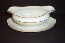 Noritake Nippon China The Yukon Gold Trim Gravy Boat w/ Attached Underplate