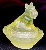 Boyd Art Glass Covered Scottie Dog Salt Vaseline Satin # 8A Made 10-7-2003
