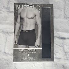 Buffalo David Bitton 3 PK Boxer Briefs Large Solid Black Cotton Stretch