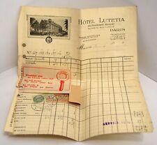 FACTURE ANCIENNE Hôtel LUTETIA PARIS 1930