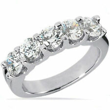 1 carat, 5 Round Diamond Band 18k Gold Anniversary Ring 0.20 ct each SI1 clarity