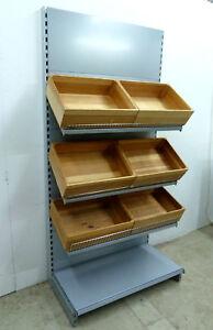 1m Brotregal silber 6 Fächer Tegometall Getränkeregal Regale Bäckerei Biomarkt