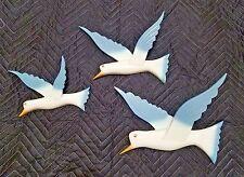 "HANDMADE ART INTARSIA WOODEN WALL PLAQUE ""3 BIRDS WHITE AND LIGHT BLUE"""