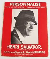 Partition vintage sheet music HENRI SALVADOR : Personnalisé * 60's