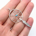 Old Pawn Navajo Sterling Silver Turquoise Dreamcatcher Feather Tribal Pendant