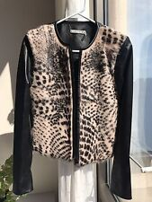 Alice Olivia Black Lamb Leather And Leopard Print Goat Fur Jacket Size 4