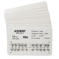 10X AZDENT Dentista Orthodontic Metal Bracket Standard Roth Slot.022 Hooks 3-4-5