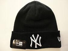 NEW ERA CAP MLB NEW YORK YANKEES STRICK-MÜTZE BEANIE SCHWARZ BASEBALL TOP & NEU