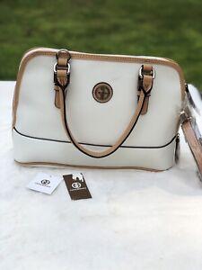Gianni Bernini Saffiano Leather Satchel White Bag