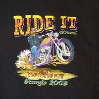"XL 2003 Sturgis ""Ride It Like You Stole It"" Black T-Shirt Black Hills Rally"