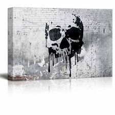 "wall26 - Canvas Wall Art - Skull Painting on Shabby Wall - 32"" x 48"""