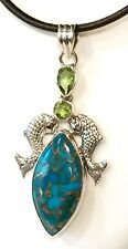 """Blue Copper Turquoise Peridot Koi Fish Solid Sterling Silver Pendant 8.3g 2.125"""""""