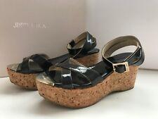 JIMMY CHOO Black Patent LEATHER WEDGE Platform SANDALS 35 Crisscross Heel Shoes