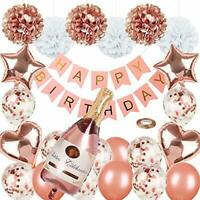 Rose Gold Party Decorations Happy Birthday Confetti Balloons with Banner,Giant