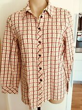 Ladies Check TORONTO Shirt Size 16 White Red Brown Long Sleeve Cotton