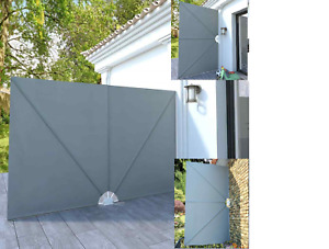 Collapsible Side Awning Wall Shade Blind Privacy Screen Terrace Grey 3m x 2m