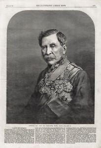 OLD ANTIQUE 1866 PORTRAIT PRINT  GENERAL SIR JOHN FOX BERGOYNE BART G.C.B B93