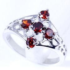 #15453 Irresistible Deep Red Garnet Gemstones 18k White GF Ring Sz-7