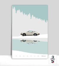 "White Vintage Porsche 911 In The Snow. Classic Porsche poster Aluminum 36""x 24"""