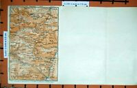 Original Old Vintage Print Map 1927 Tyrol Schlern Rotwand Alps Mountains Gazza