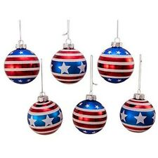 Red, White and Blue Stars and Stripes Glass Ball Ornaments, 6-Piece Box Set 80MM