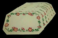 New listing Lot of 7 Vintage Linens Cloth Placemat Cream Red Flowers 19x13 Table Decor