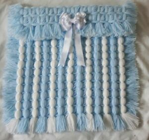POM POM POPCORN LIGHTWEIGHT PRAM BLANKET IN BLUE AND WHITE WITH OPTIONAL BOW