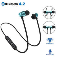 Magnetic Wireless Bluetooth Earbuds +Mic Bass Stereo Sports In-Ear Earphone