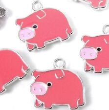 6 Enamel Lucky Pig Pendant Charm 18x20mmm - Pink