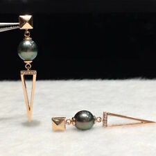 Natural Tahitian Black Pearl Diamond Triangle Earrings 14K Rose Gold Jewelry