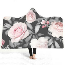 Chic Retro Rose Flower Liberty Floral Fleece Hooded Blanket Sofa Throw Cloak