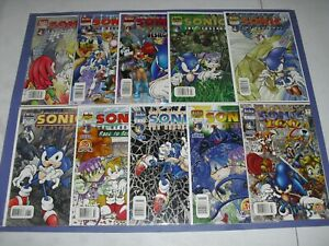 Lot 10 Sonic the Hedgehog run 84 85 89 90 91 93-96 100 all newsstand most VF/NM